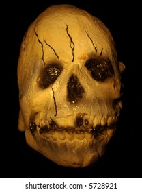 Halloween image - Isolated closeup of a skull against a black background