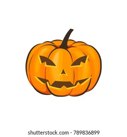 Halloween is isolated with a terrible pumpkin in a cartoon style on a white background. Illustration on Halloween Celebration for your projects.