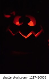 Halloween jack-o-lantern with copy space at bottom