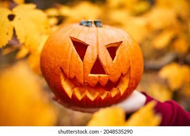 Halloween Jack-o-Lantern with yellow autum leaves background. Halloween pumpkin. Autumn colors.