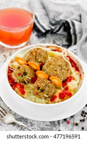 Halloween lunch dish - meatballs shaped bloody rat with tomato and puree selective focus