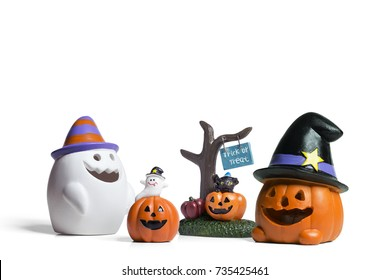 Halloween miniatures decoration on isolated white background.