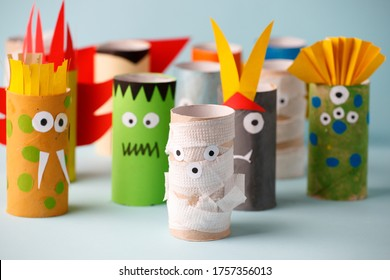 Halloween monsters doll from toilet paper tube. Creative DIY for kids. Home decor for party. Paper handie crafts inspiration. Eco-friendly reuse recycle idea