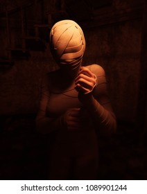 Halloween mummy in haunted house or woman with bandages on her in abandoned building,3d illustration
