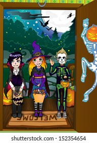 Halloween night background with vampire, witch and skeleton