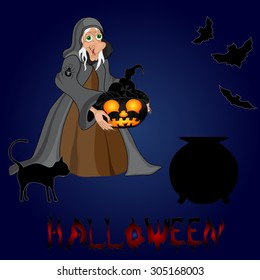 Halloween night background with  witch and pumpkins. Halloween banner