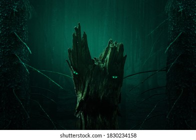 Halloween night forest, scary stump with shining eyes and open mouth. Framed by two fir trees. You can also watch it animated in my video section