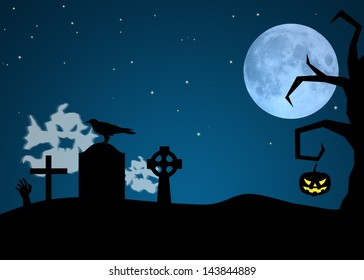 Halloween Night illustration: Ghosts in a graveyard, crow on a gravestone and a pumpkin is hanging at a tree.