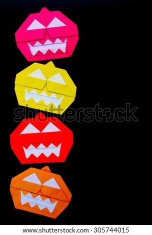 Halloween Origami Pumpkin On Black Background Stock Photo Edit Now