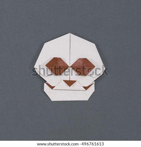 Halloween Origami Skull On Dark Background Stock Photo Edit Now