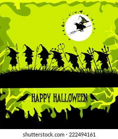 halloween party background with children trick or treating