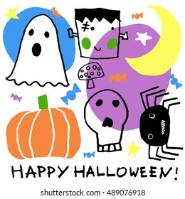 Halloween party card, flayer, banner, poster templates. Hand drawn traditional symbols, cute design elements, handwritten ink lettering. Made in the technique of hand drawing. Children's style.