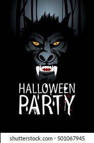 Halloween party design concept with werewolf, rasterized version