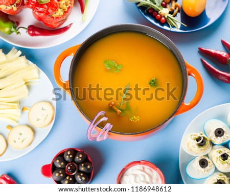 Halloween Hamburgers.Halloween Party Food Pumpkin Soup Cheese Stock Photo Edit