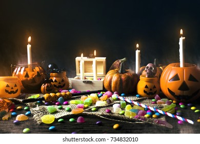 halloween party night with candle light and smoke fog