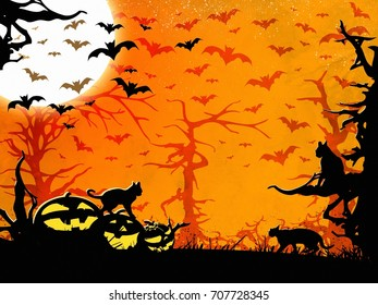 Halloween party orange vertical background, trees, bats, cats and pumpkins
