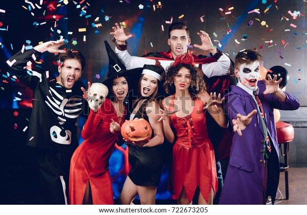 Halloween Party Six Friends Costume Cine Stock Photo (Edit Now