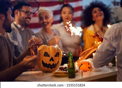 Halloween Party.Happy Halloween with a scary faces pumpkin.  traditional  halloween.