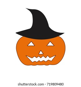 Halloween, pattern icon pumpkin and black hat isolated on white background