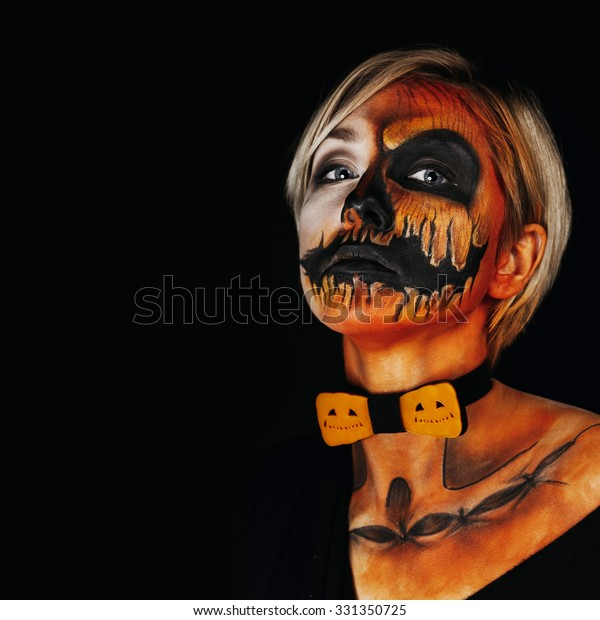 Halloween Portrait Body Art Pumpkin Girl Stock Photo Edit Now 331350725