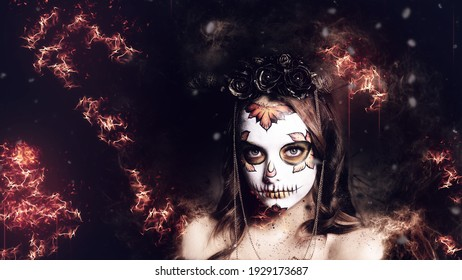 Halloween Portrait woman with make up skeleton on face. Close up girl face with makeup. Beauty of the dark forces. Dark background. Fire, Flame Effect.