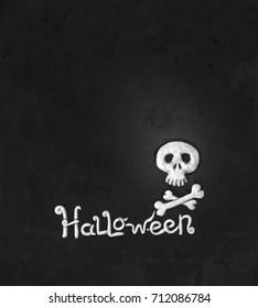 Halloween poster flyer card skull skeleton bones candles