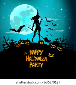 Halloween Poster, night background with creepy castle and pumpkins, illustration. Greeting card halloween celebration, halloween party poster.