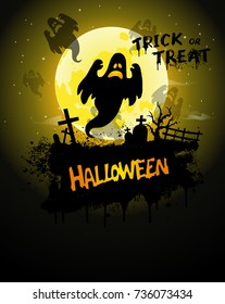 Halloween Poster, night background with ghost and pumpkins, illustration. Greeting card halloween celebration, halloween party poster.