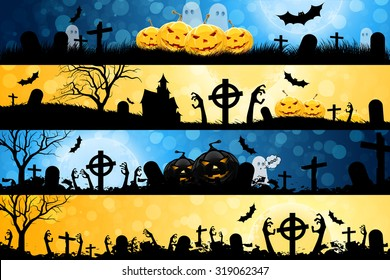 Halloween Posters set. Holiday Banners with Zombie Hands.