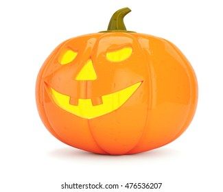 Halloween pumkin isolated on white background. 3d rendering