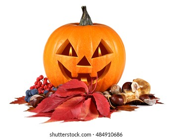 Halloween, pumpkin, autumn composition, old jack-o-lantern on white background with fiery flames in the eyes