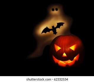 Halloween pumpkin bat and ghost isolated on black background