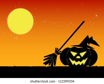 halloween pumpkin in the Black Witch Hat and moon