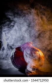 Halloween pumpkin in coloured smoke great for lettering