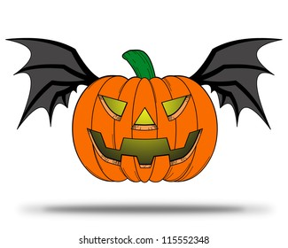 Halloween Pumpkin comic with bat wings flying on white background.