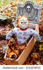 A halloween pumpkin dressed in a costume