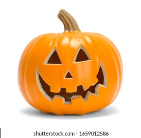 Halloween Pumpkin Face Isolated on White Background.