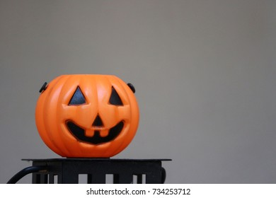 Halloween Pumpkin Ghost with gray background