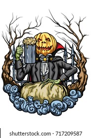 Halloween Pumpkin Head creature with a pint of beer. Illustration an emblem with Pumpkin Head Jack, cheering with mug of beer