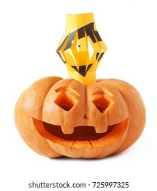 Halloween pumpkin head and light isolated on white background