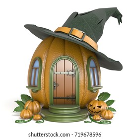 Halloween pumpkin house with witch hat 3D render illustration isolated on white background