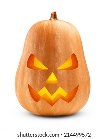 Halloween Pumpkin isolated on white background. Clipping Path
