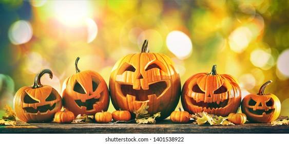 Halloween pumpkin jack o lanterns with funny faces