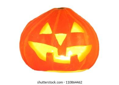 halloween pumpkin jack-o-lantern candle lit, isolated on white background