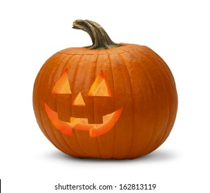 Halloween Pumpkin Lit Isolated on a White Background.