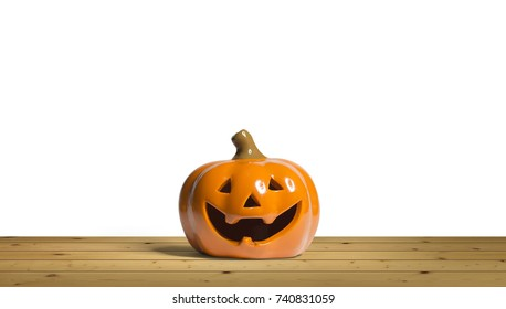 Halloween Pumpkin miniature decoration isolated on white background.