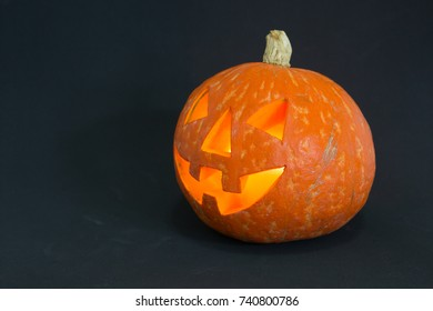 halloween pumpkin on dark color background
