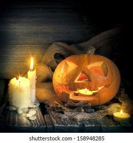 Halloween pumpkin on on a wooden background