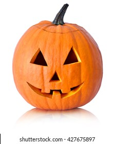 Halloween pumpkin with scary face. Jack O' Lantern isolated on white.