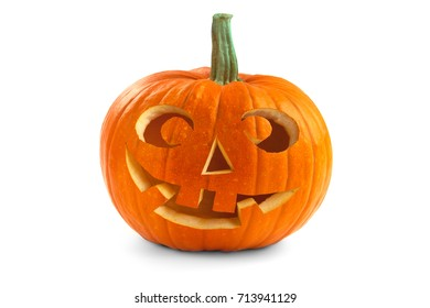 Halloween pumpkin. Scary Jack O'Lantern face isolated on a white background.